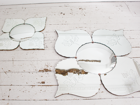A Large Mid Century French Flower Butterfly Convex Mirror