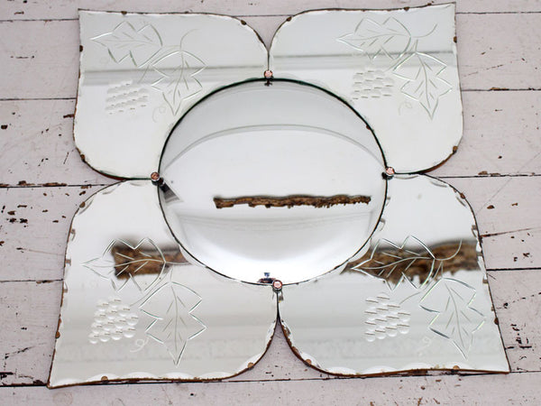 A Smaller Mid Century French Flower Butterfly Convex Mirror