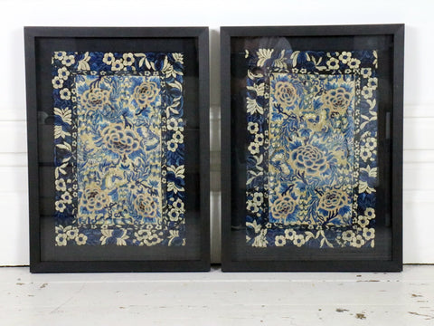 A Pair of 19th C Framed Blue, Black & Ivory Silk Embroidered Panels