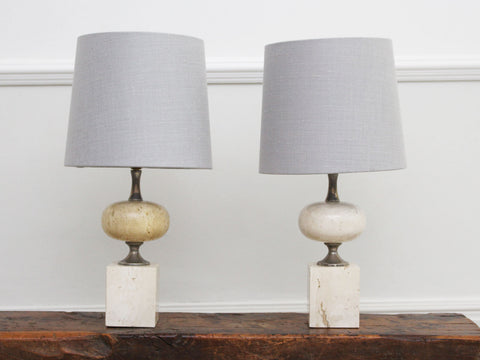 A Pair of 1970's Nickel & Travertine Table Lights by Philippe Barbier