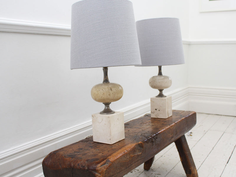 A Pair of 1970's Chrome & Travertine Table Lights by Philippe Barbier