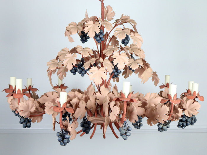 An impressive 1970s french pink metalwork grapevine chandelier aloadofball Choice Image