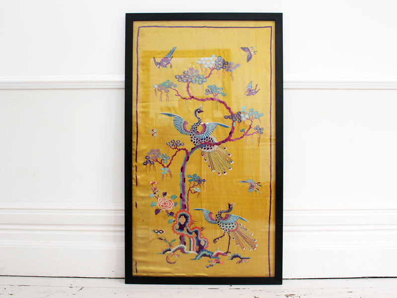 Rare 19th C Yellow Silk Chinese Embroidered Panels with Phoenix & Foli