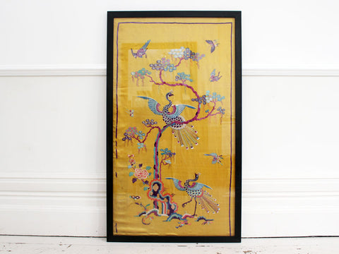 Rare 19th C Yellow Silk Chinese Embroidered Panel with Phoenix & Foliage
