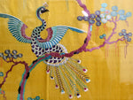 Rare 19th C Yellow Silk Chinese Embroidered Panels with Phoenix & Foliage