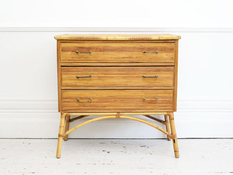 A 1950's Riviera Three Drawer Rattan Chest of Drawers