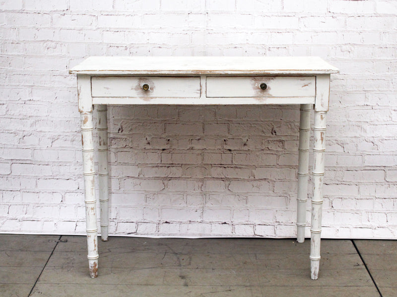 A 19th Century Painted White Two Drawer Side Table