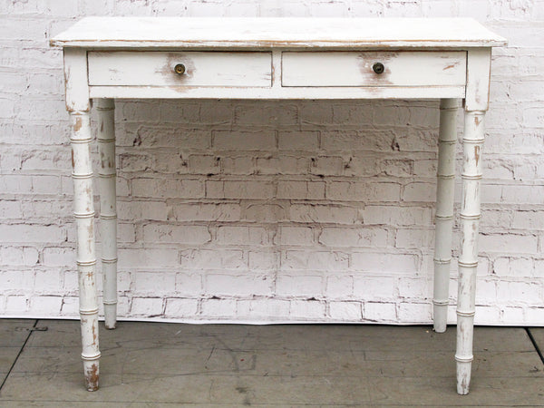 A Regency Faux Bamboo Painted Two Drawer Side Table