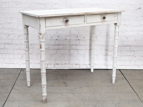 A Regency Painted White Two Drawer Side Table