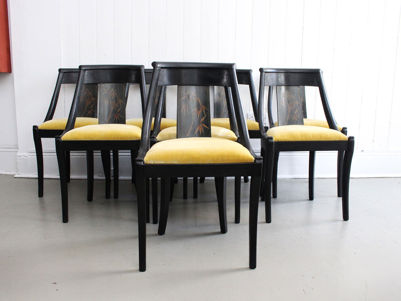 A Set of Eight Black Lacquered 1920's French Dining Chairs