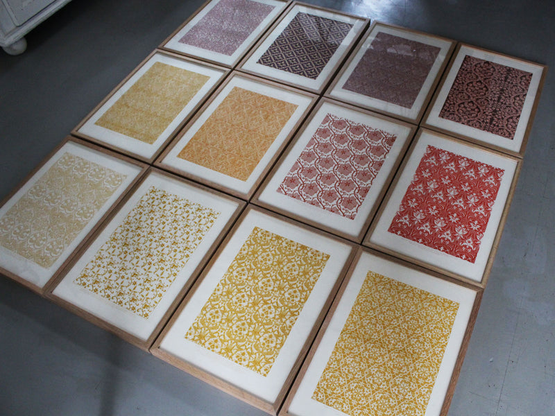 A Set of Colourful Framed Lithographs of Textile Designs