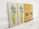 Two Pairs of French Gold and Silver Floral Canvas Paintings