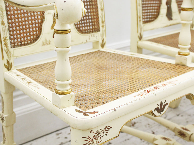 A Set of Six Decorative Ivory Chinoiserie Dining Chairs