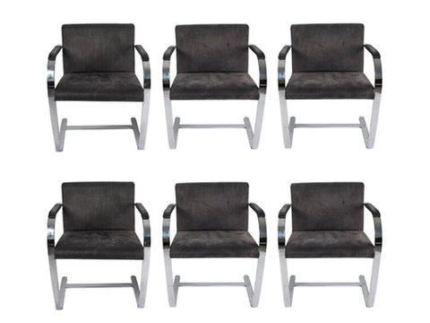 A set of six Brno Chrome Flat Bar Armchairs By Ludwig Mies Van Der Rohe For Fasem