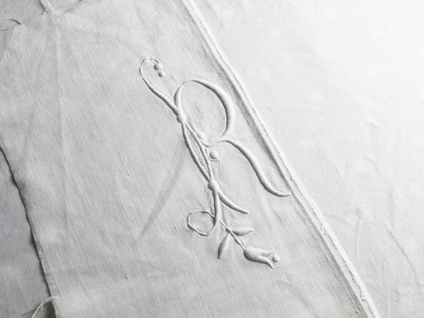 R Small Bolster Cushion - Antique French R Monogram on Linen PR69