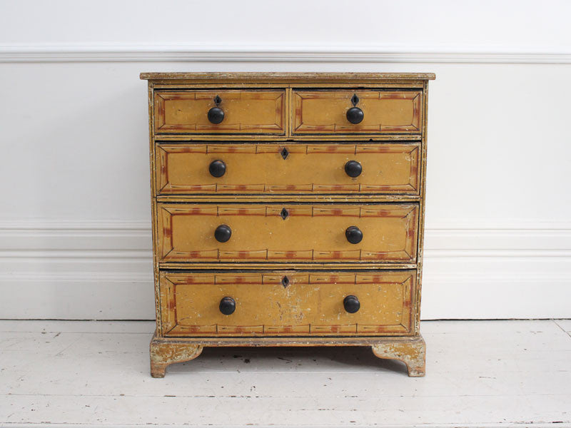 Super 19th C Small Regency Painted Faux Bamboo Chest of Drawers With Origina EL32