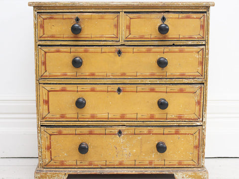 19th C Small Regency Painted Faux Bamboo Chest of Drawers With Original Paint