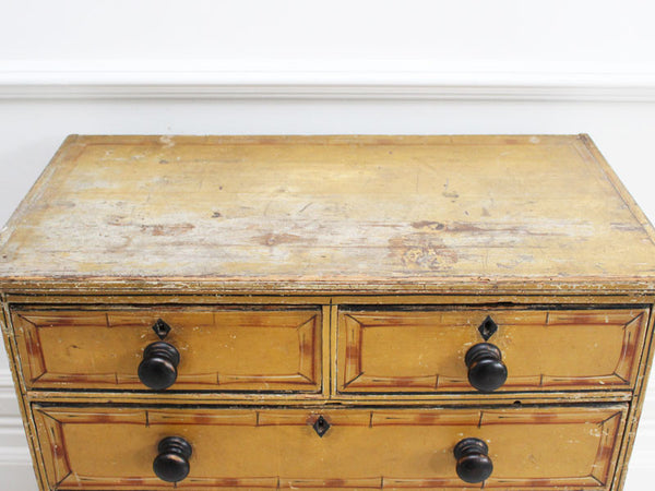 Completely new 19th C Small Regency Painted Faux Bamboo Chest of Drawers With Origina VZ42