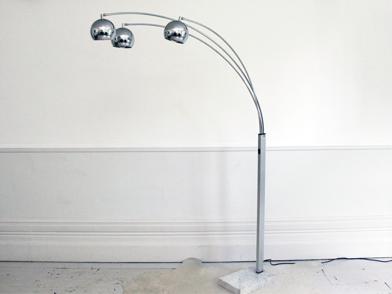 1960s three headed chrome arc floor light with marble base aloadofball Images