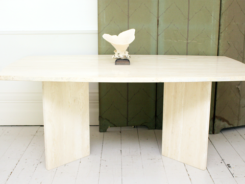 Large 1970's French Travertine 8-10 Seat Dining Table