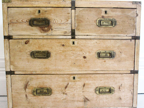 Late 19th C Small Pine Campaign Chest