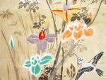 A Beautiful Four Piece Set of Hand Painted & Embroidered Chinoiserie Panels