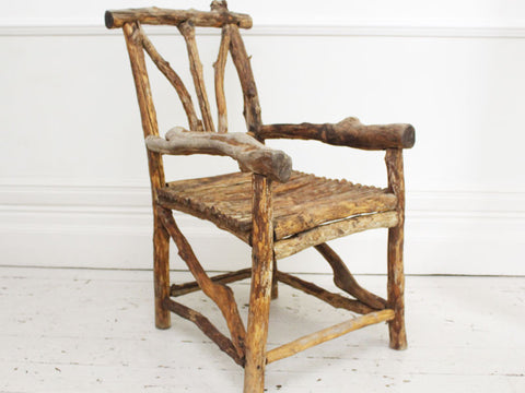 Wonderful 19th C French Folk Art Bergere's Wooden Armchair