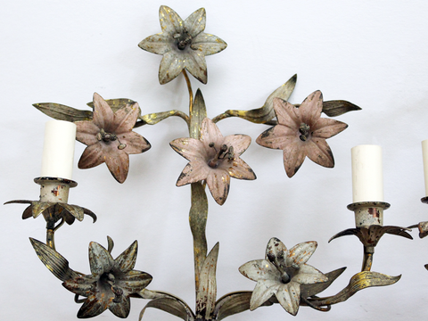 A Pair of Antique Pretty Painted Brass Flower Wall Lights