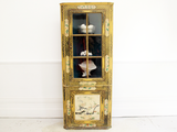 Early 19th C Chinoiserie Glass Fronted Standing Corner Cupboard