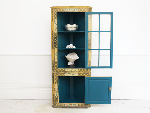 Late 19th C Chinoiserie Glass Fronted Standing Corner Cupboard