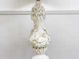 A Large Ceramic Lamp Base with Three Dimensional, Nicely Trashed Floral Decoration