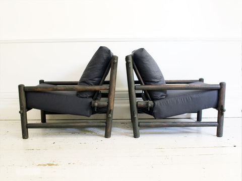 A Superb Pair of French 1960's Dark Pine Sling Lounger Chairs