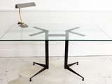 1950's Italian Angelo Ostuni Geometric Glass Topped Desk Dining Table