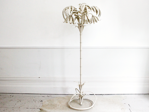 Superb 1960's Large Ivory French Riviera Palm Floor Light with Five Lights