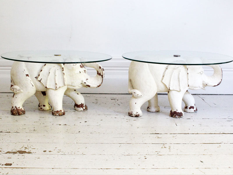 A Pair of Carved & Painted Wooden Elephant Side Tables with Glass Tops