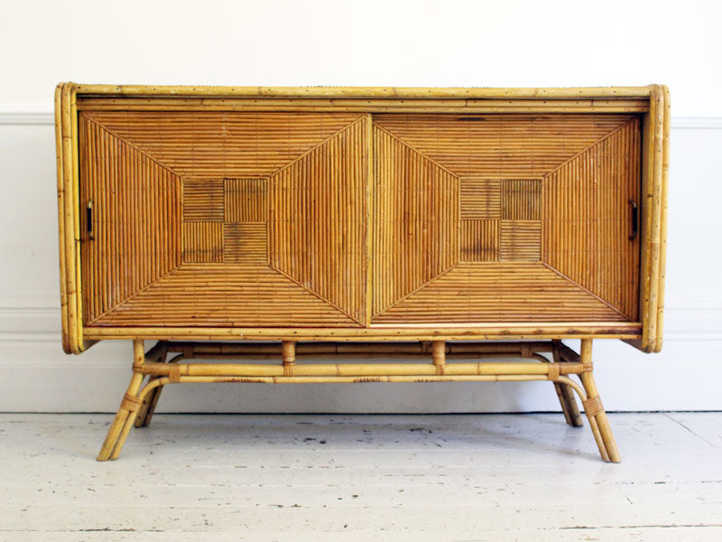 1960's Parquetry Rattan and Bamboo Sideboard in the French 'Riviera' Style