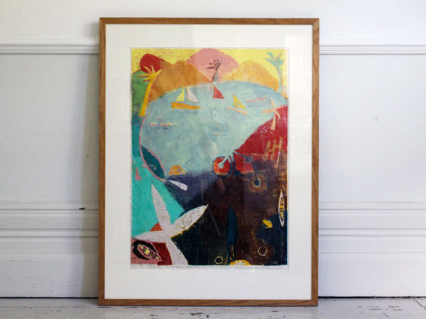 A Colourful Abstract Screen Print of Lake Scene Entitled