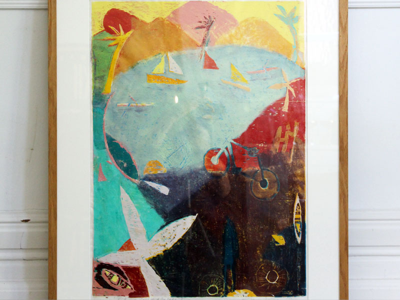 A Colourful Abstract Screen Print of Lake Scene Entitled 'Biking Round the Lake'