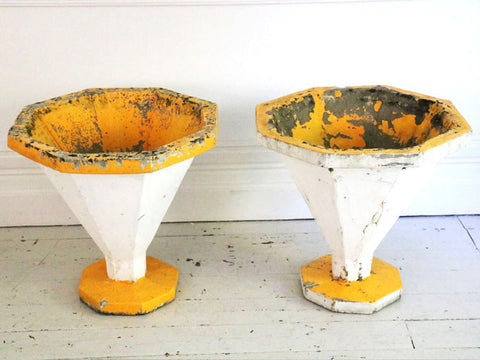 A pair of supercool white and yellow 50's planters