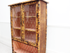 Antique French Tiger Bamboo Glass Fronted Cabinet with Vintage Wallpaper Interior