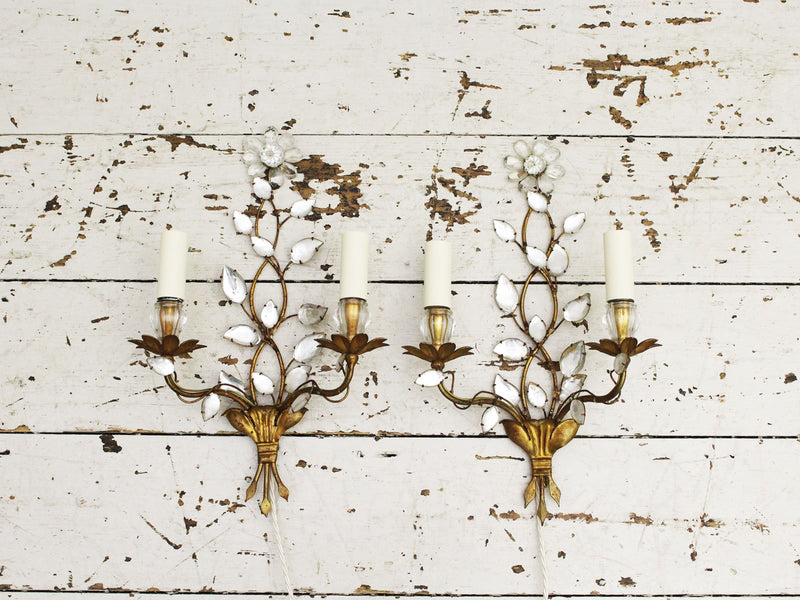A Pair of Mid Century French Gilt Metal Wall Lights with Glass Flowers & Leaves