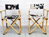 A Pair of 1950's French Folding Directors Bamboo and Cowhide Chairs