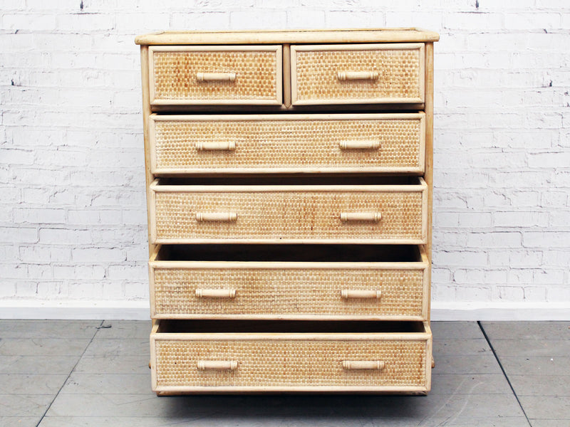 A 1970's French Riviera Six Drawer Bamboo & Cane Chest of Drawers