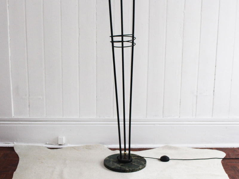 A 1950's French Three Prong Standing Lamp with Marble Base & Glass Globes