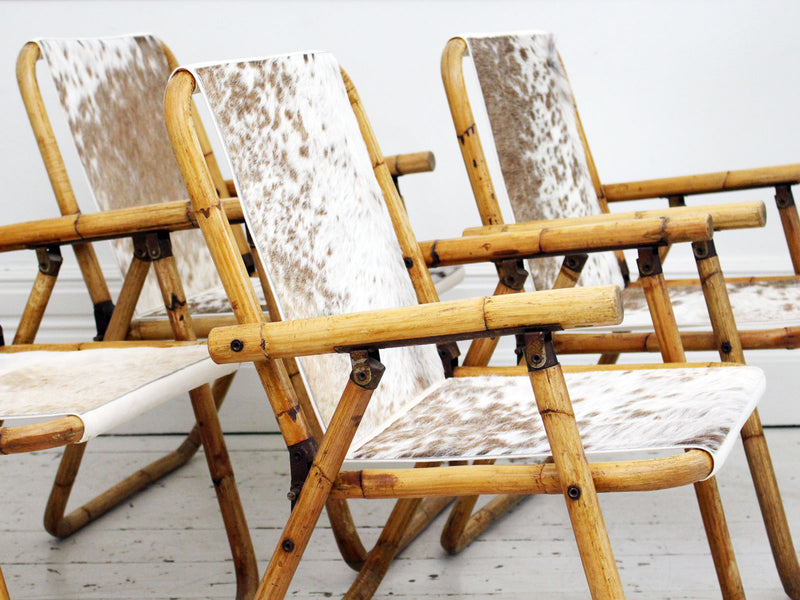Set of 4 1950's French Riviera Folding Bamboo and Cowhide Armchairs