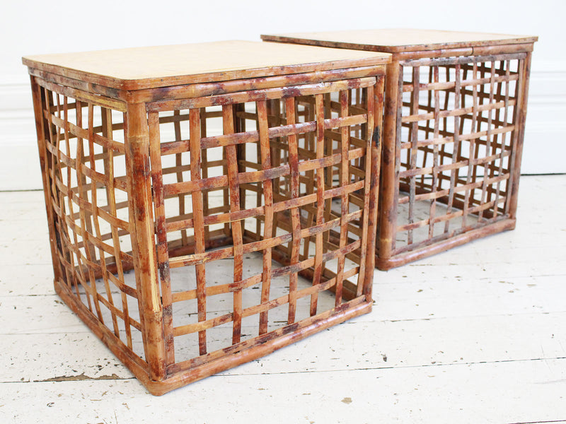 A Pair of 1970's French Parquetry & Bamboo Sofa Tables