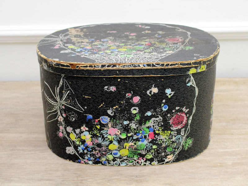 A 1950's Black French Hat Box with Colourful Floral Decoration