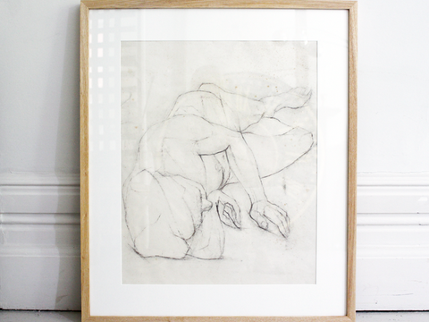 Vintage French Charcoal on Paper Nude Study