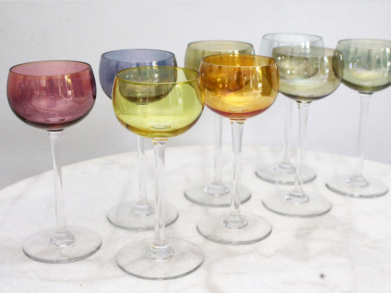 A Set of 8 Vintage French Wine Glasses with Iridescent Coloured Bowls