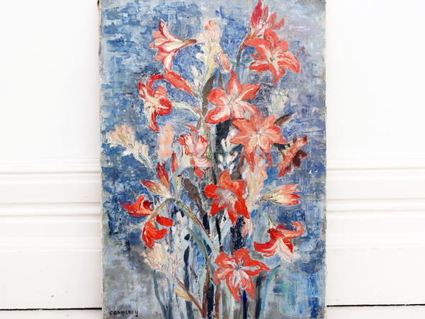 Brightly Coloured Vintage Oil on Canvas Still Life of Lilies in Blue & Pink Tones